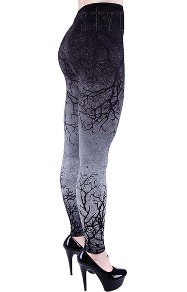 Restyle - GREY BRANCHES - Women's Leggings - Grey