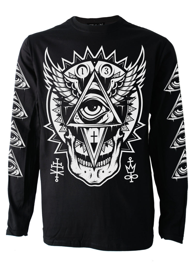 Darkside - ALL SEEING EYE - Mens Long Sleeve Top - Black