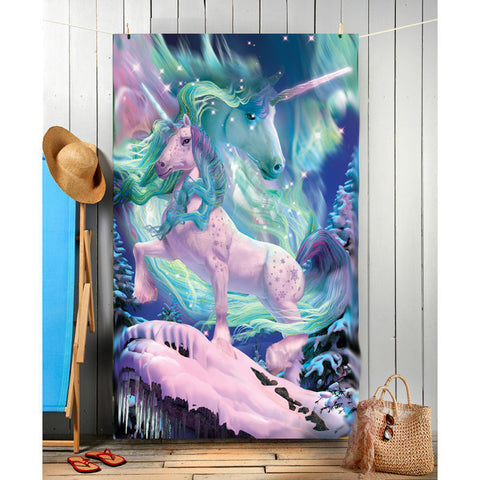 Wild Star Hearts - AURORA UNICORN - Beach Towel