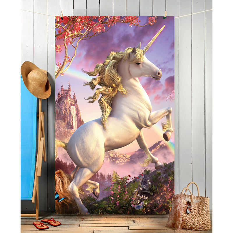 Wild Star Hearts - AWESOME UNICORN - Beach Towel