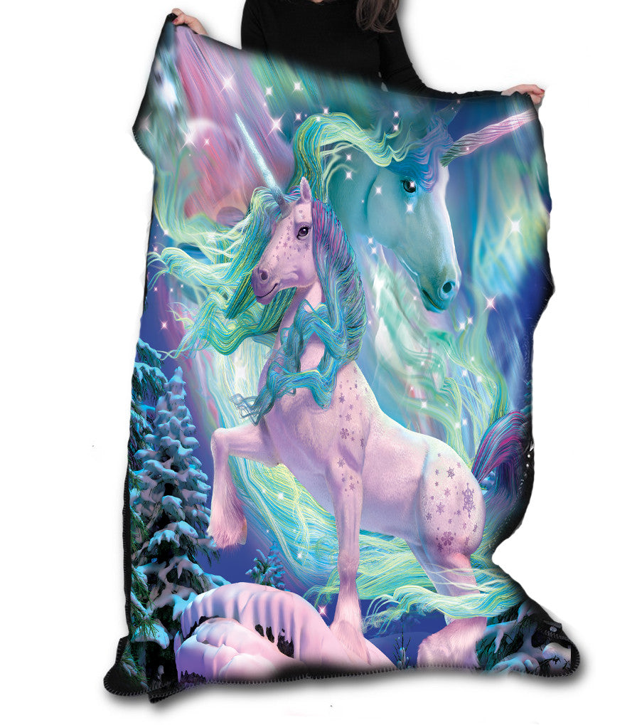 Wild Star - AURORA UNICORN Fleece Blanket / Throw / Tapestry