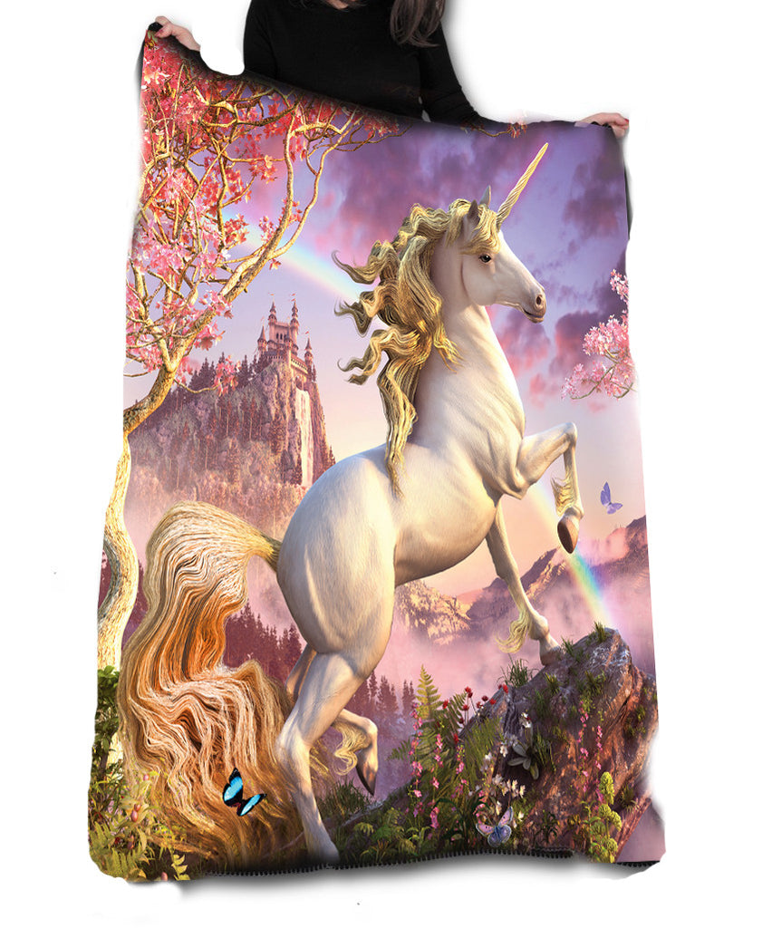 Wild Star - AWESOME UNICORN Fleece Blanket / Throw / Tapestry