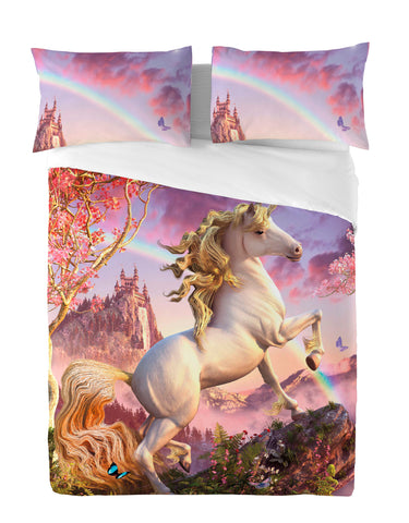 Wild Star - AWESOME UNICORN - Duvet & Pillow Cases Covers Set UK Double
