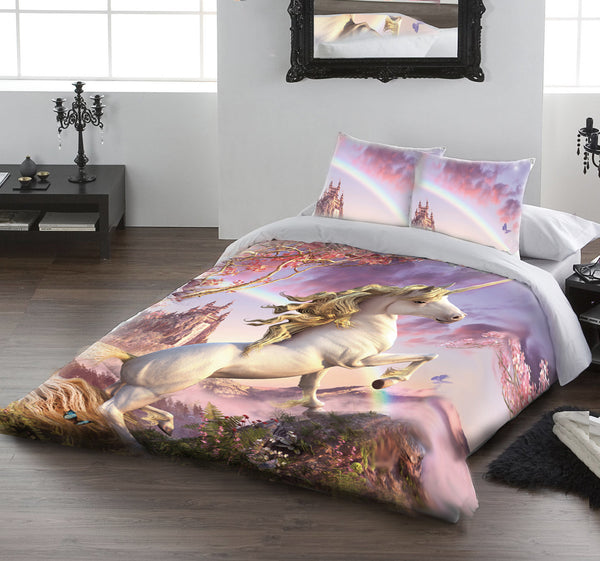 AWESOME UNICORN - Duvet & Pillow Cases Covers Set UK Double
