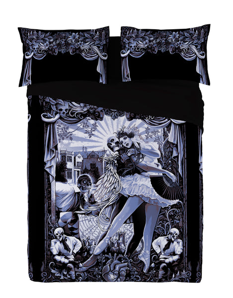 Wild Star - BLACK HEART BALLET-Duvet & Pillowcase Covers Set UK Kingsize