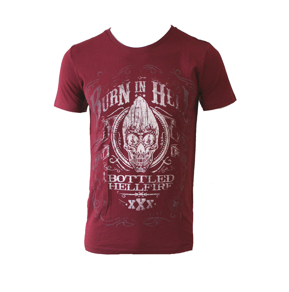 Jacks Inn 54 - BURN IN HELL - Mens T-Shirt - Claret