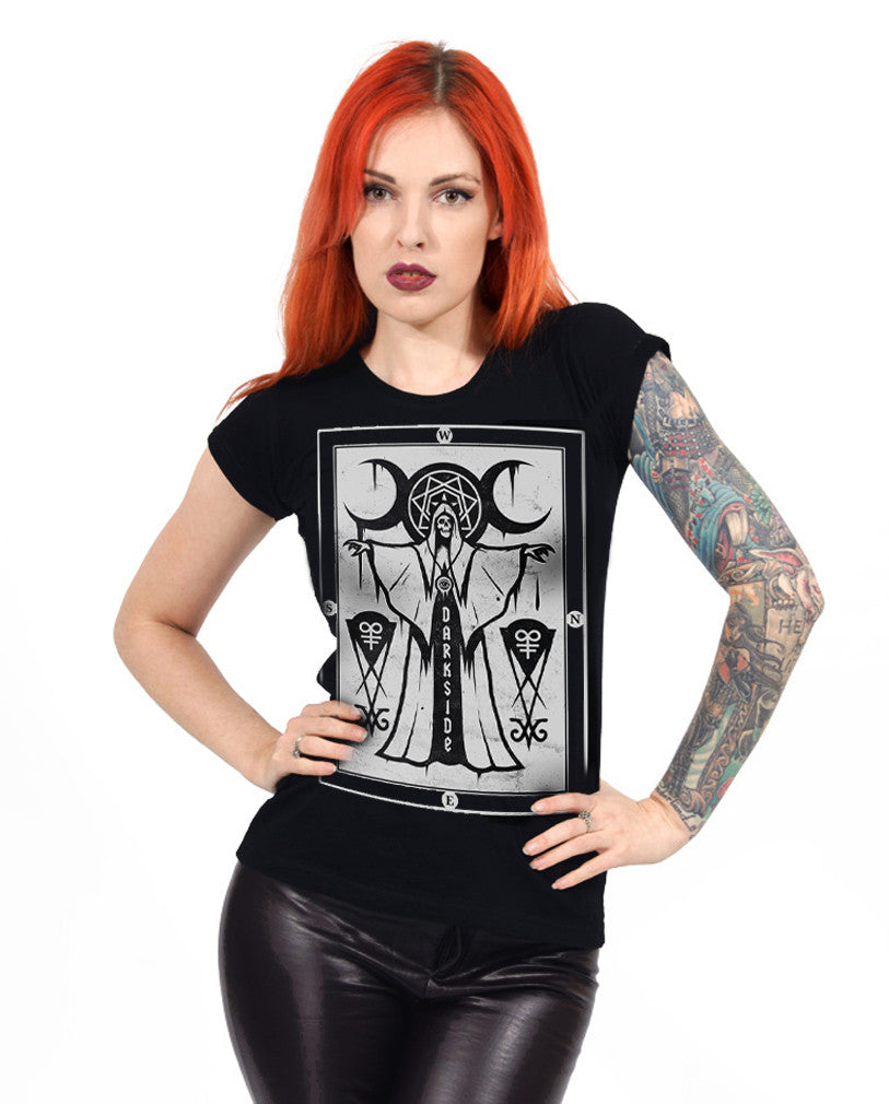 Darkside -  CULT PRIEST - Womens Capsleeve T-Shirt - Black