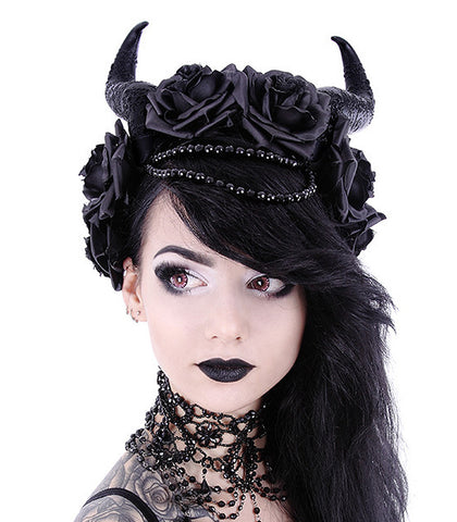 Restyle - EVIL QUEEN - Gothic Headpiece, Black Headband, Satan Horns