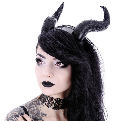 Restyle - EVIL HORNS - Gothic Headpiece, Black Headband, Satan Horns