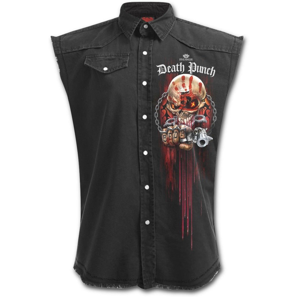 Five Finger Death Punch - ASSASSIN - Men's Stone Washed Distressed Look Workers Shirt
