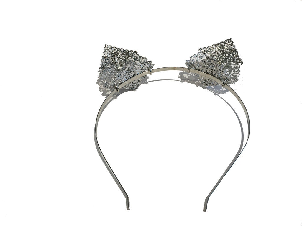 Punk Rave - SILVER FILIGREE CATS EARS - Metal Hairband