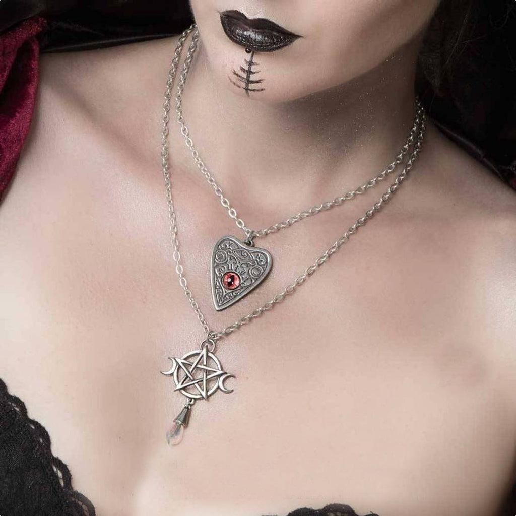 Image of Goddess Necklace shown on model with another product