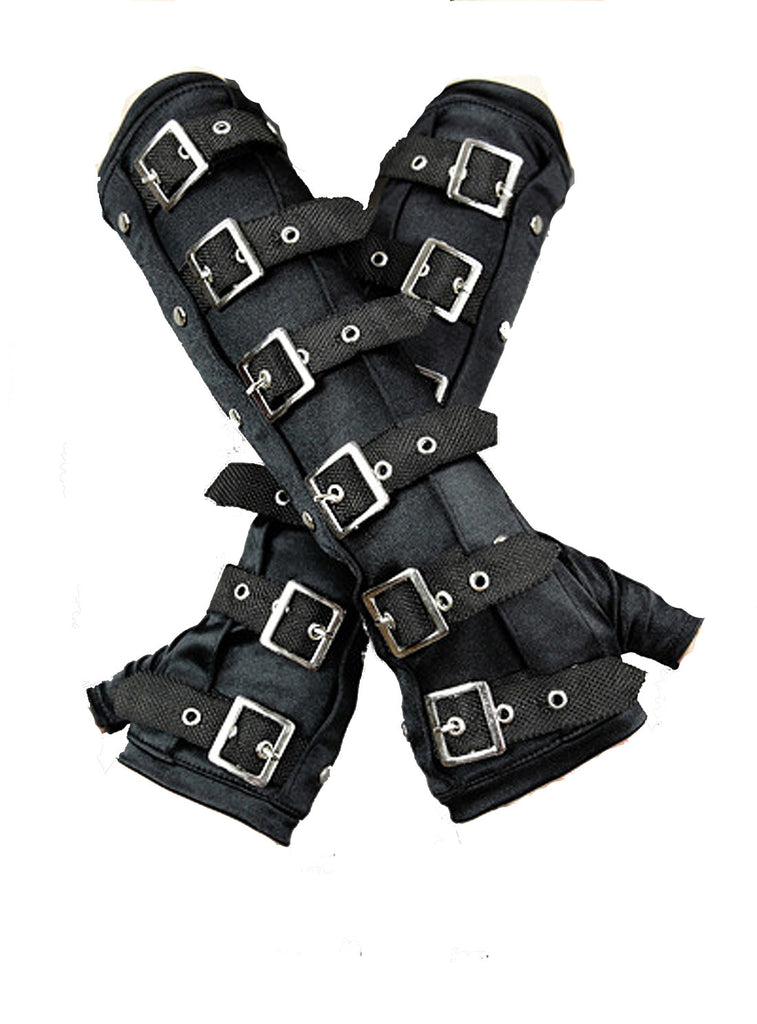 Restyle - GOTHIC ARMWARMERS with BUCKLES  -  Black