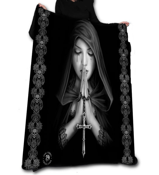 GOTH PRAYER Fleece Blanket / Throw / Tapestry  by ANNE STOKES