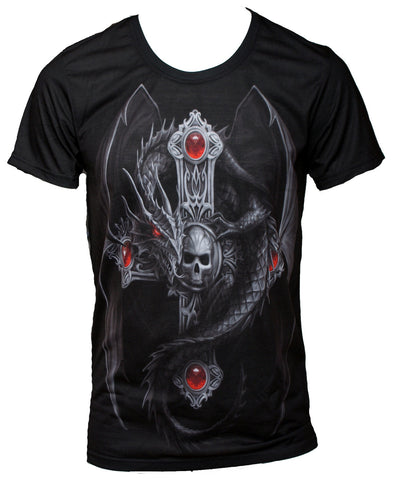 Wild Star - GOTHIC DRAGON - Mens T-Shirt Tops - Black