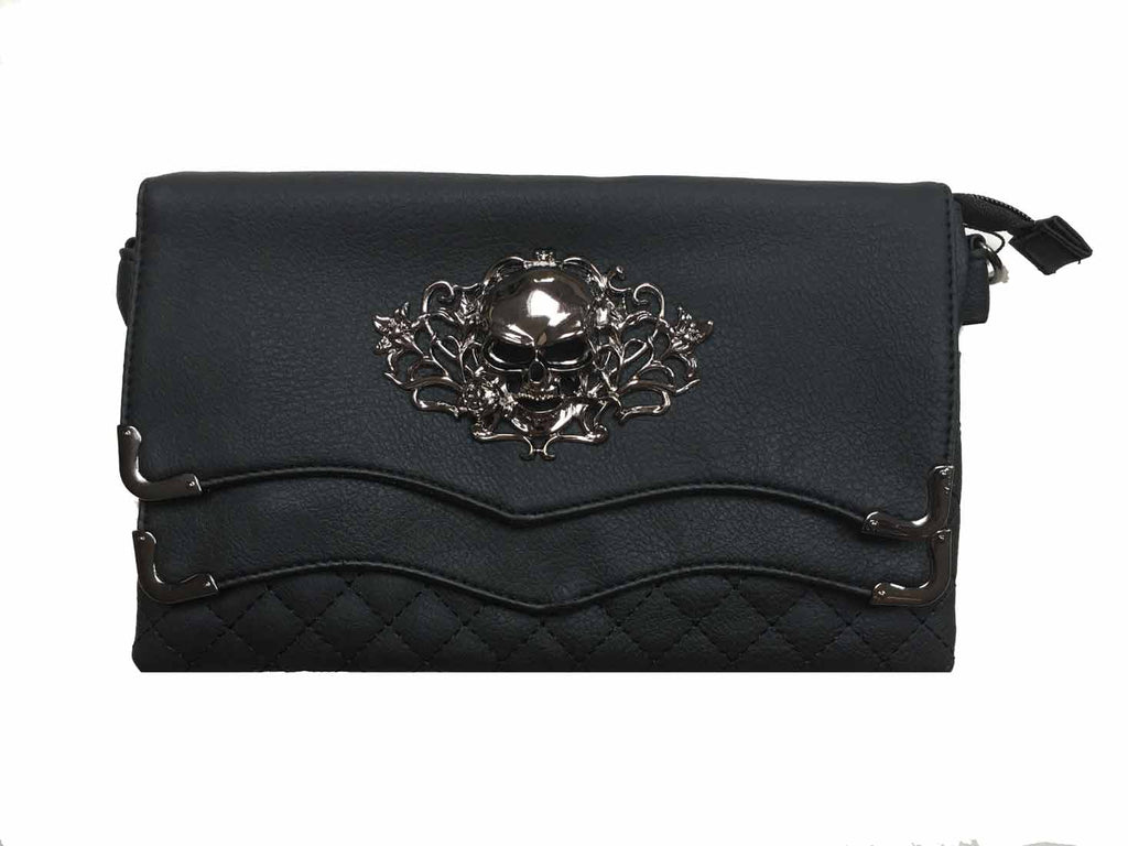 Gothx - METAL SKULLHEAD - 2 Flap Evening Handbag / Shoulder bag