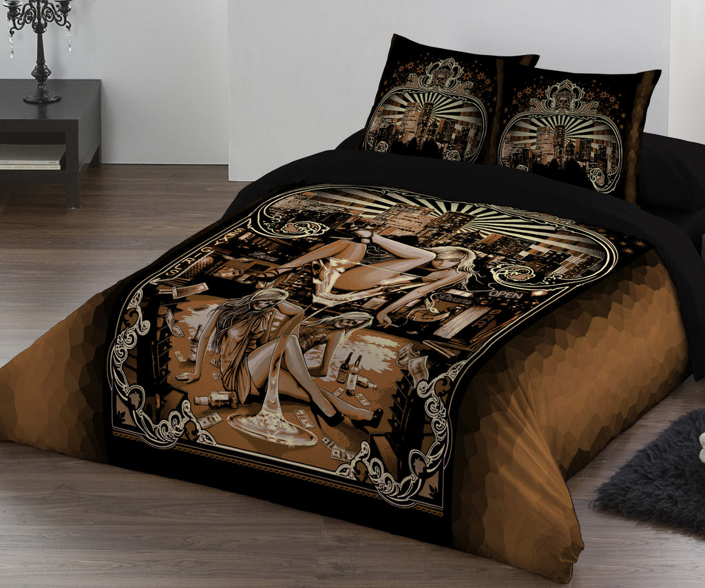 Close up of Duvet set shown on a Bed