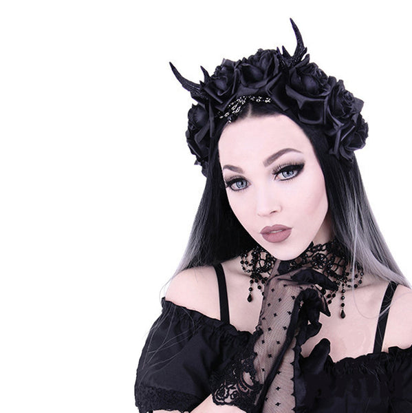 Restyle - ANTLERS, ROSES & BEADS - HEADBAND - Black