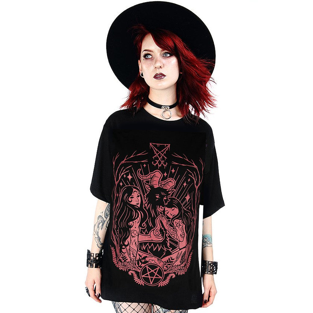 Model wearing the Restyle Clothing Lucifer Blood Red - T-shirt