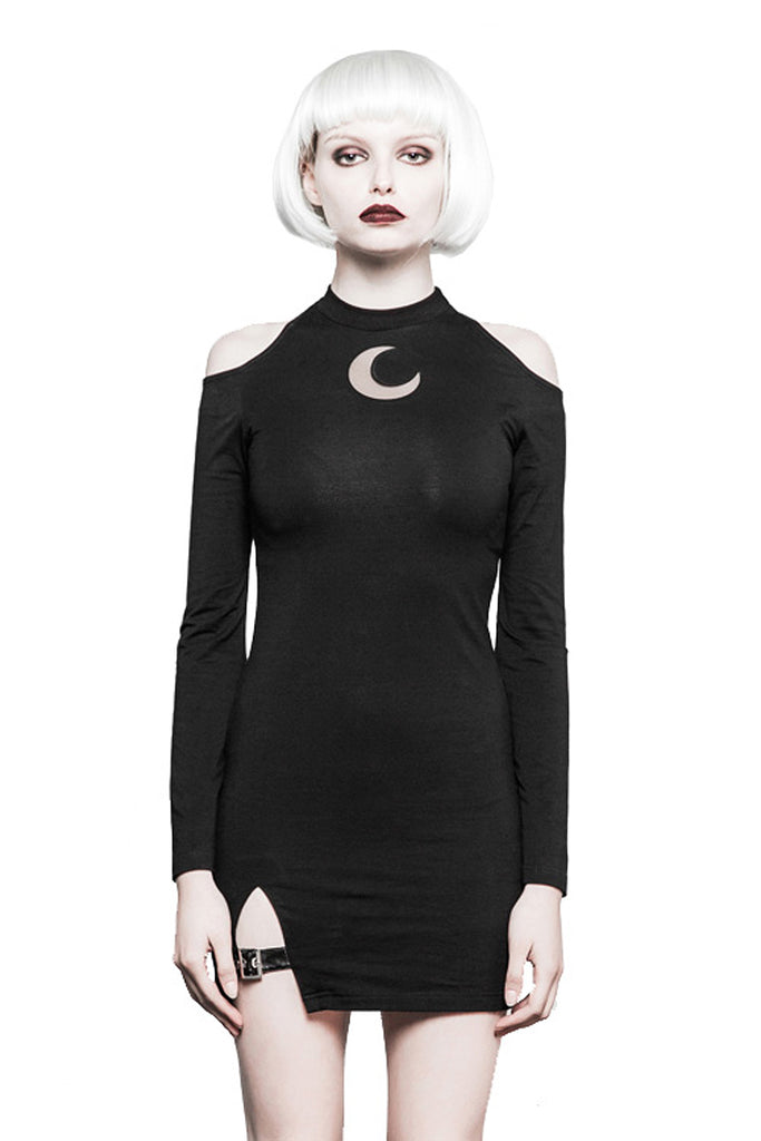 Punk Rave - LUNA QUEEN - Women's Cold Shoulder Dress