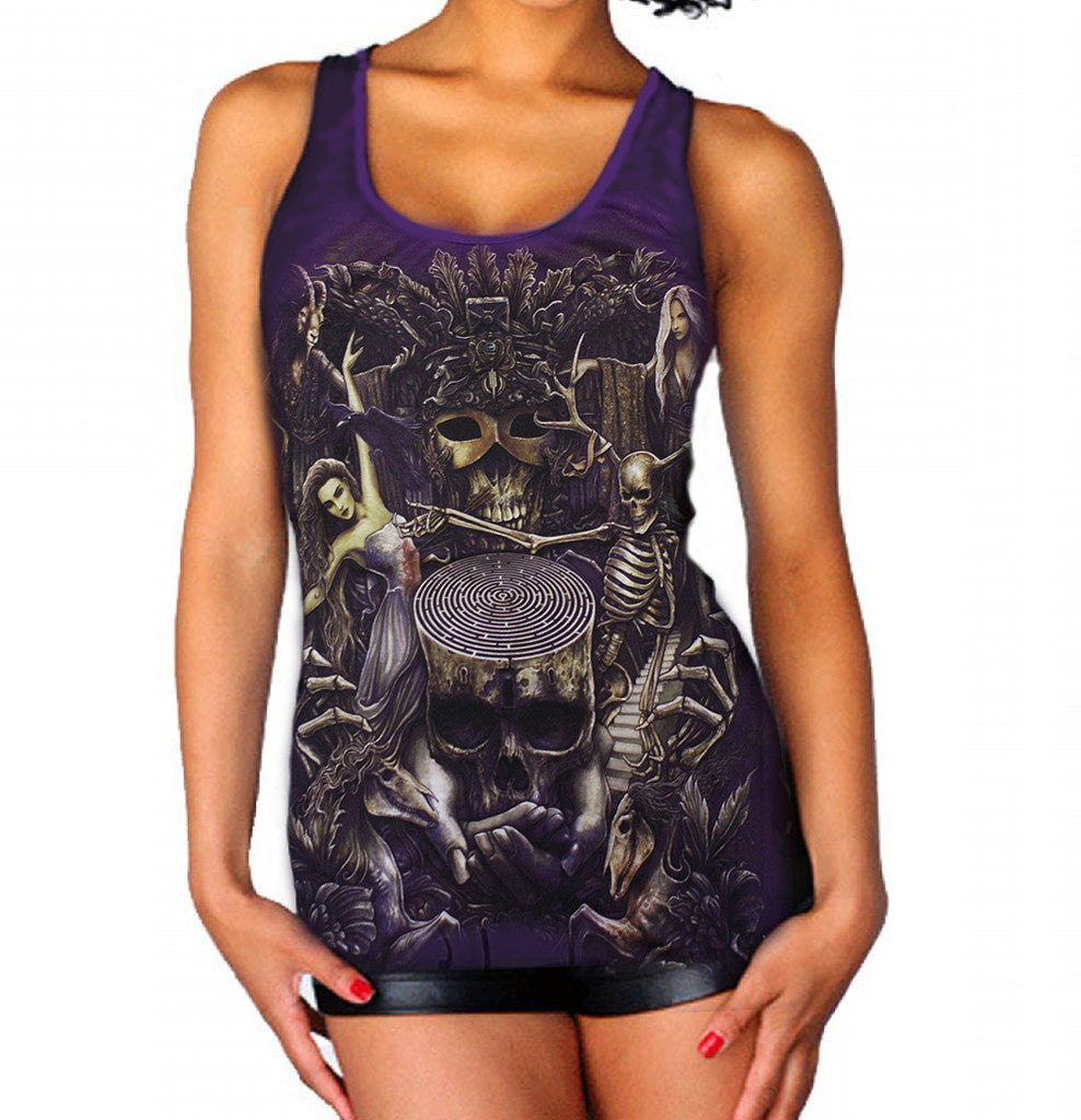 Image of front of Goth Top on Model
