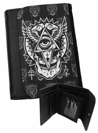 Darkside - ALL SEEING EYE - Bi-Fold Simulated Leather Wallet -Black