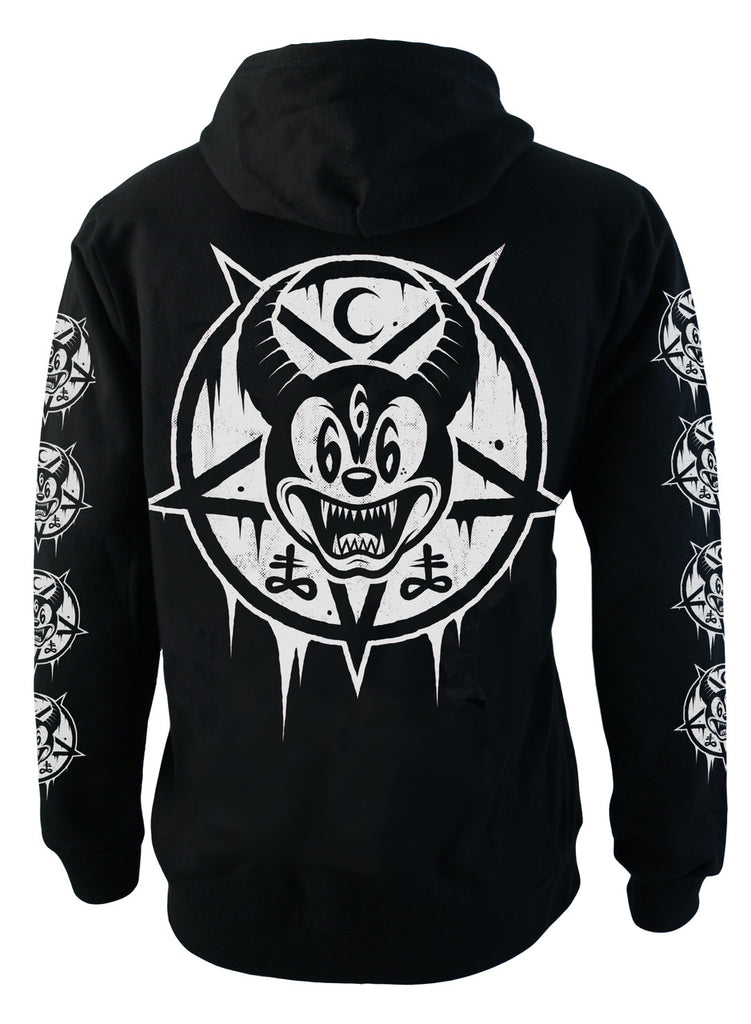 Darkside - MICKEY 666 - Mens Hooded Zip-Up Sweater - Black