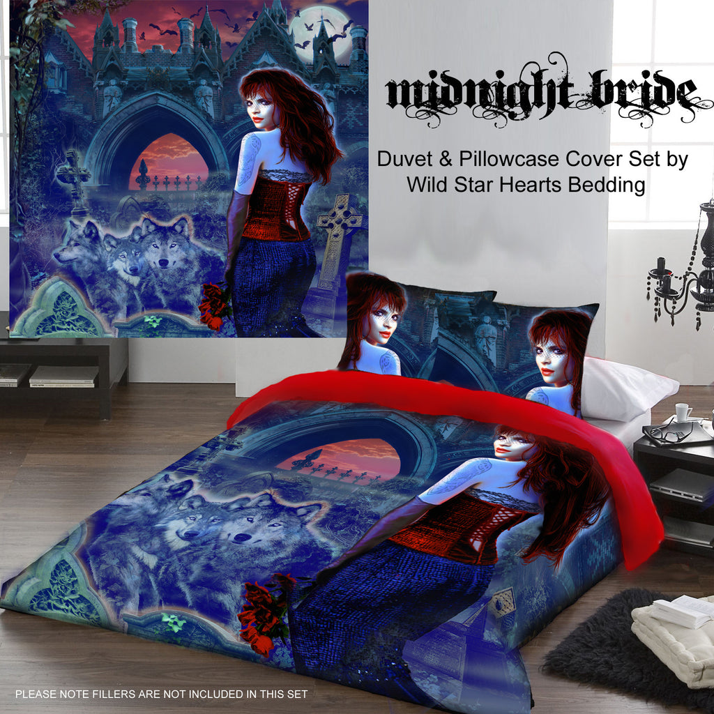 Wild Star - MIDNIGHT BRIDE - Duvet & Pillows Covers Set Double