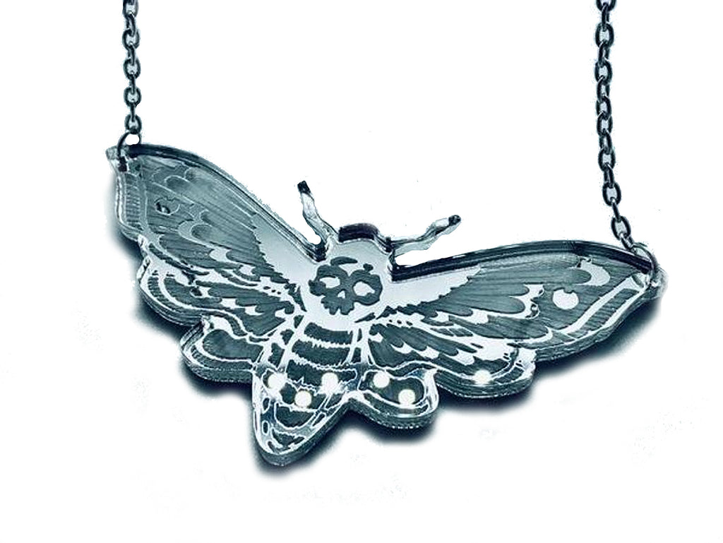 Curiology -MIRROR DEATHS HEAD MOTH - Necklace