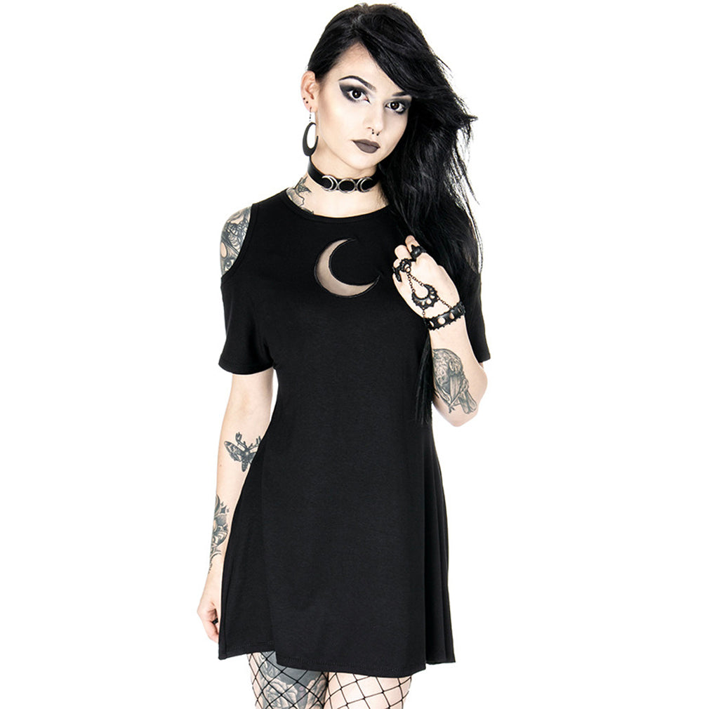 Restyle - CRESCENT MOON - Cold Shoulder Gothic Tunic Dress