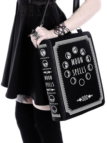 3fa033f6b587f3 Sold Out Restyle - MOON PHASES - Book Bag. Hand / Shoulder Book Shaped Bag