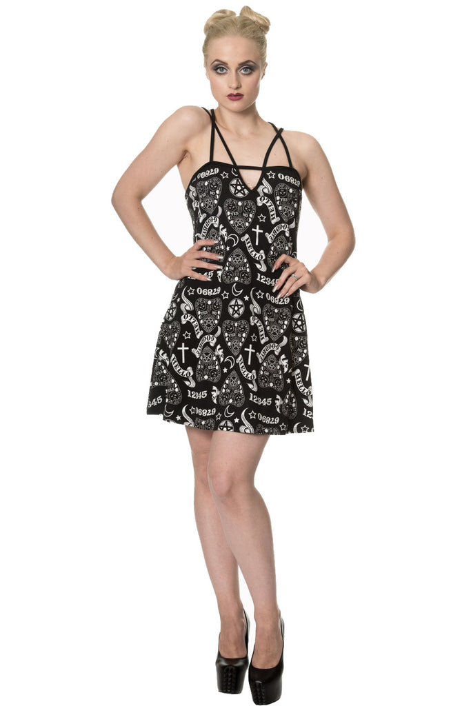 Banned - MOONLIGHT SILENCE - Women's Goth Strap Dress, Black