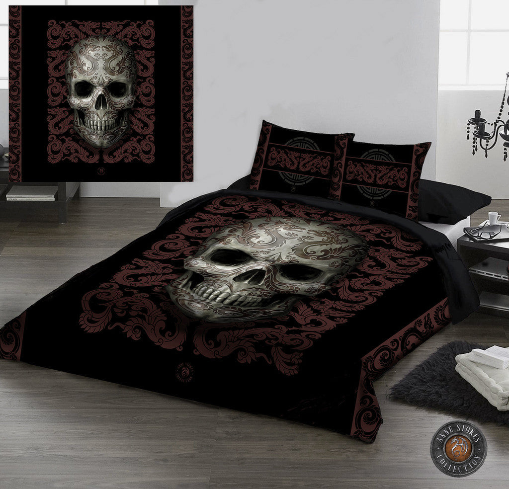 oriental skull duvet pillow covers set uk double us twin bed wild star hearts. Black Bedroom Furniture Sets. Home Design Ideas
