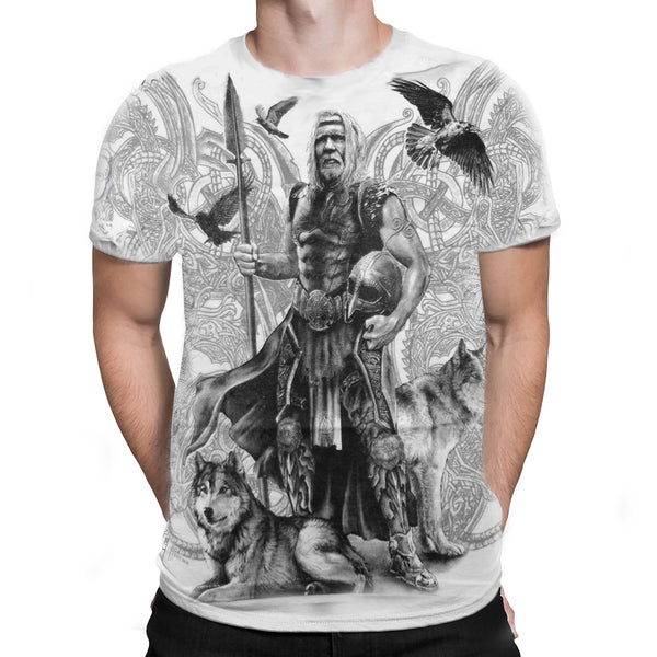Fantasmogoria - VIKING ODIN WHITE  - Mens White T-Shirt