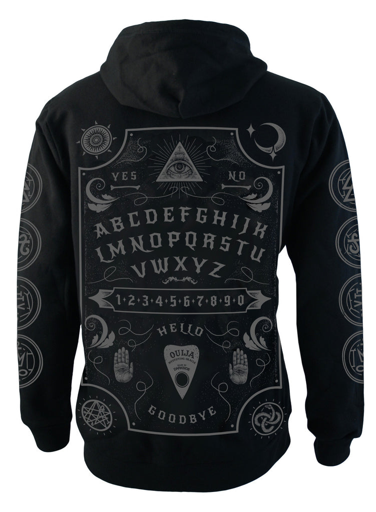 Darkside - OUIJA BOARD GREY - Mens Hooded Zip-Up Sweater - Black