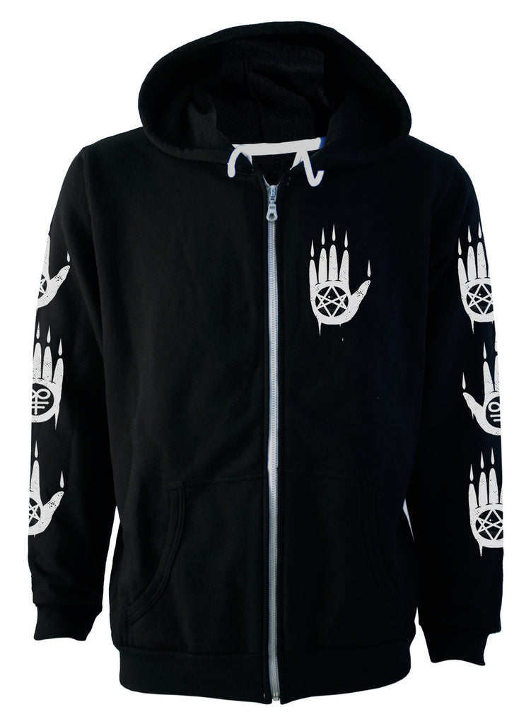 Darkside - OCCULT WOLF  - Mens Hooded Zip-Up Sweater - Black
