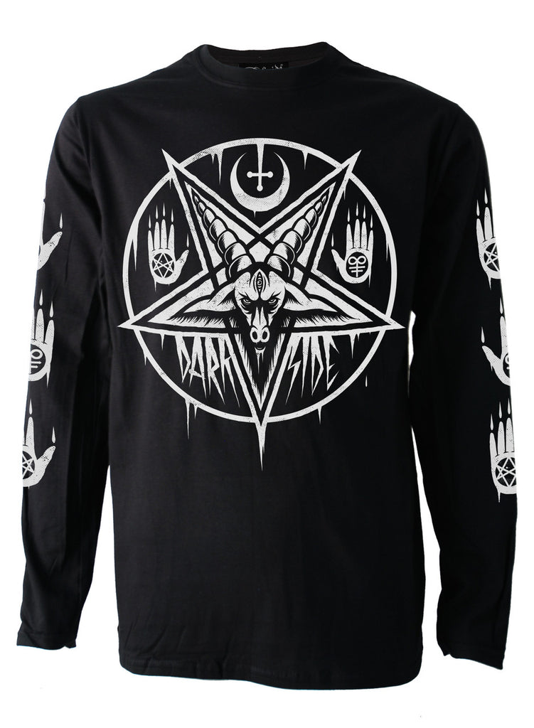 Darkside - PENTAGRAM BAPHOMET - Mens Long Sleeve Top - Black