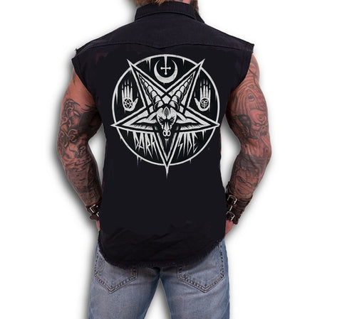 Dark Art Cult - PENTAGRAM BAPHOMET- Sleeveless Workers Shirt - Black