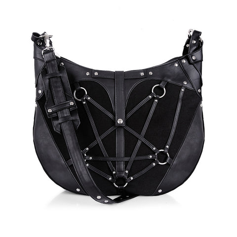 Restyle - PENTAGRAM HOBO BAG - Black, harness Purse, occult, black fashion