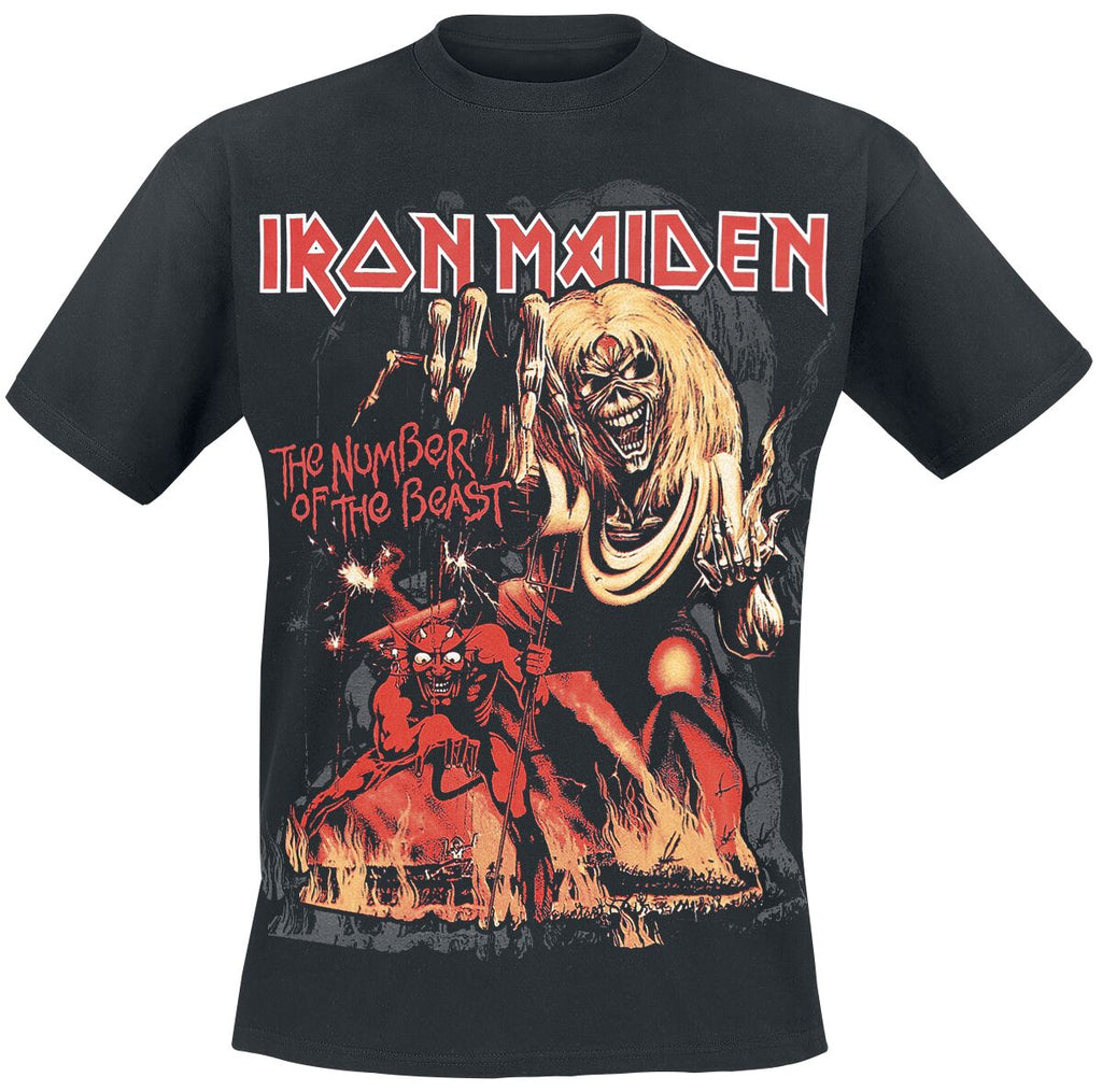 Image of Iron Maiden Number of the Beast Album cover on the front of the black t-shirt