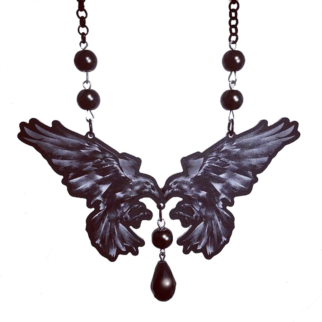 Curiology - RAVEN BUTTERFLY - Black Bead Necklace