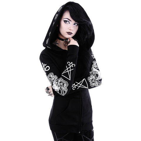 Restyle - RITUAL HOODIE - Blouse with ram skull and pentagram prints