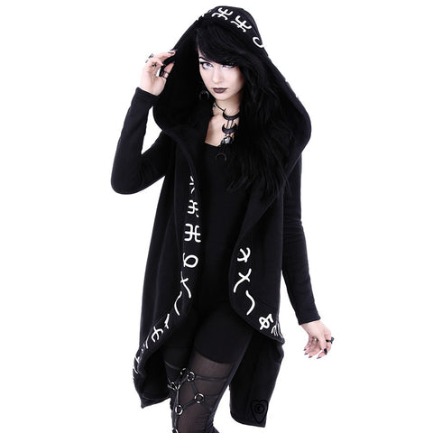 Restyle - RUNES HOODIE - Long, Runic jacket with oversized hood