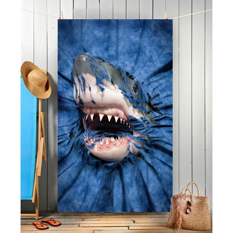 Wild Star Hearts - SHARK RIP-THRU - Beach Towel