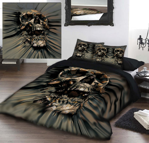 SKULL RIP THROUGH - DUVET & PILLOW COVERS CASE SET SUPERKINGSIZE BED  Art by David Penfound