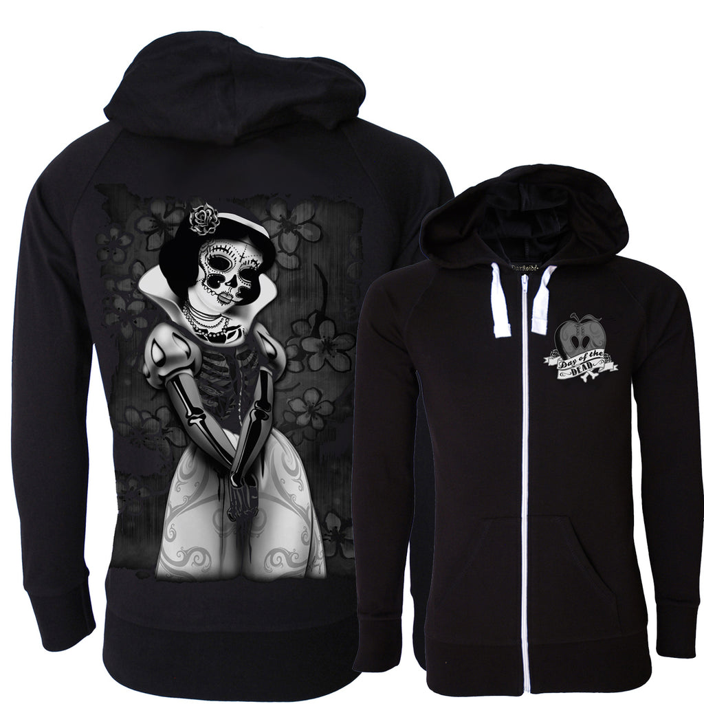 Darkside - SNOW WHITE SKELETON - Unisex Lightweight Hoodie - Black