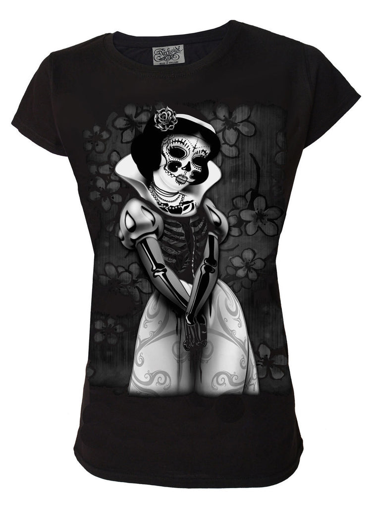 Darkside - SNOW WHITE SKELETON - Womens Capsleeve T-Shirt