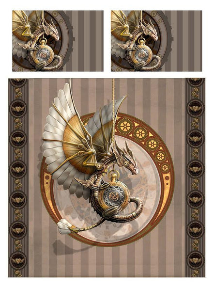 STEAMPUNK DRAGON-Duvet & Pillow Cases Cover Set Superking/King