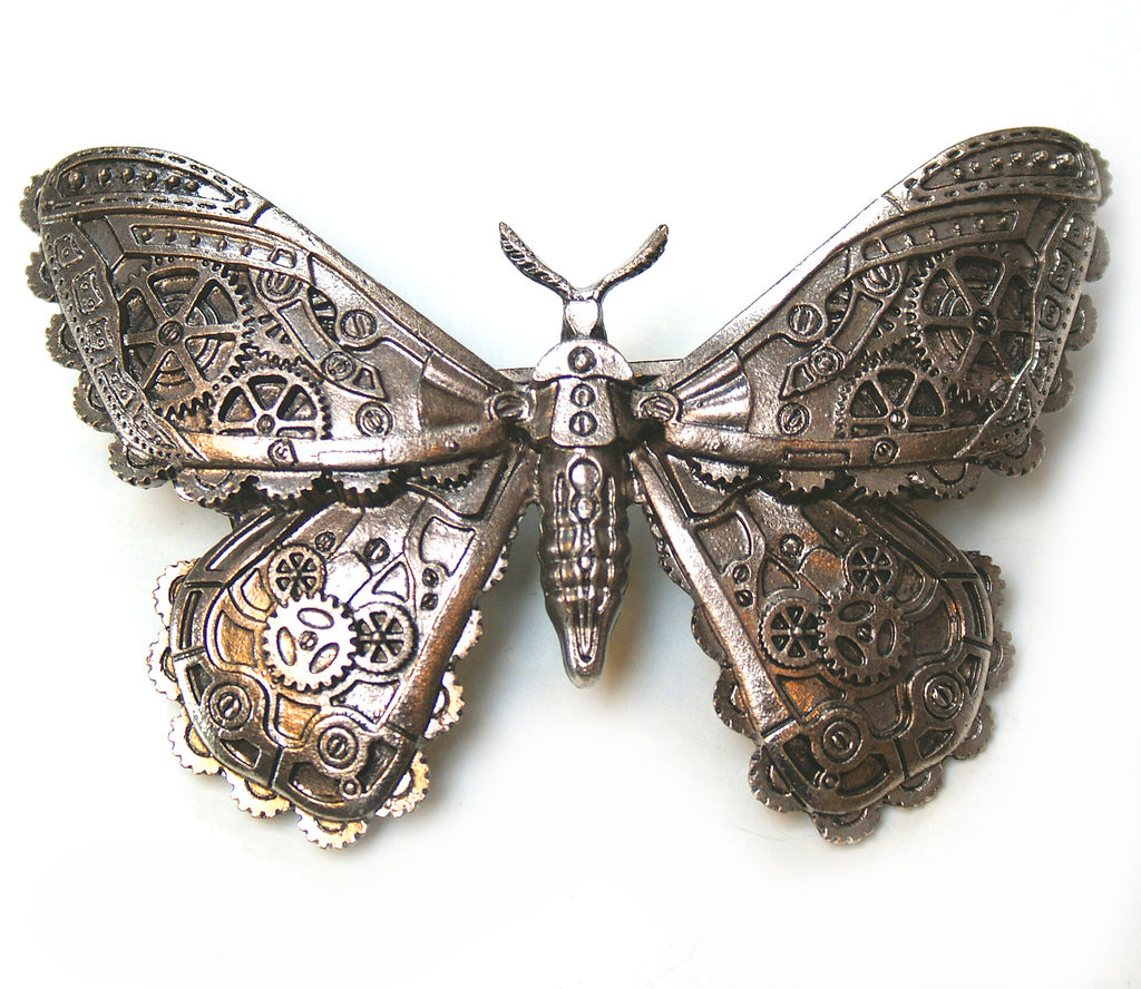 Restyle - STEAMPUNK MOTH - Brass Colour Hair Barette