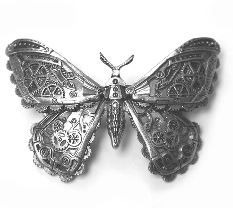 Restyle - STEAMPUNK MOTH - Silver Pewter Colour Hair Barette